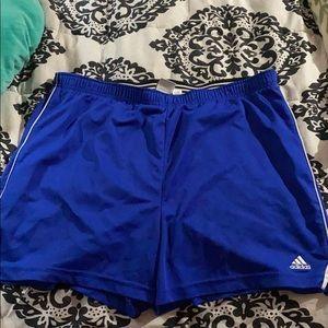 Blue Adidas athletic shorts